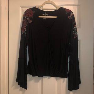 Flowered cotton criss-cross blouse